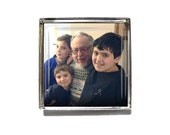 Custom Photo Brooch or Lapel Pin - Personalized Pin - 1 inch square - Mother's Day, Father's Day, New Mom, New Dad