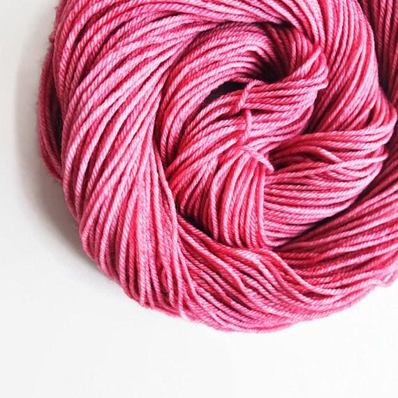 rouge / hand dyed yarn / fingering sock dk bulky yarn / super wash merino wool yarn / single or ply/ choose base / wine rose blush pink yarn