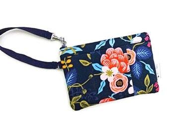Birch Floral Blue Wristlet, Fabric Wallet Wristlet, iPhone Wristlet, Zipper Wallet, Wristlet Purse