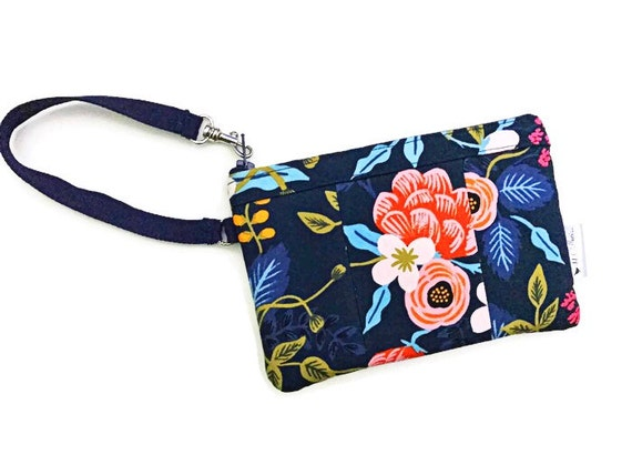 Birch Floral Blue Wristlet, Fabric Wallet Wristlet, iPhone Wristlet, Zipper Wallet, Wristlet Purse