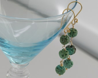 Carved TURQUOISE Dangle Drop Cascading Gold Vermeil Earrings // Natural Gems // luluglitterbug