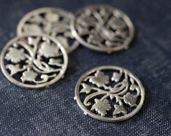 Vintage Antiqued Silver Ivy Medallions - 4pc - Rare- Silver Leaf Pendant - Coin Pendant - Maple Leaf Charm - Filigree Leaf Silver Leaf Charm
