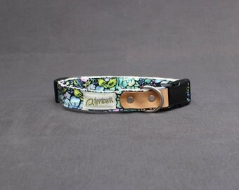 The Maggie. Handmade Green Hemp Dog Collar. Adjustable. Small Medium Large.