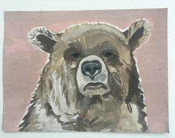 Bear painting on paper, original bear painting in acrylic