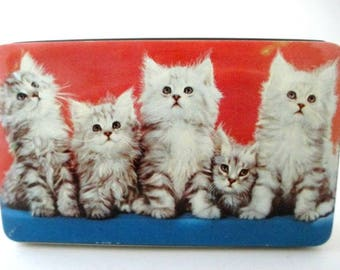 5 Kittens Vintage Tin Box - Thorne's Toffee Tin England - Kitty Cat Collectible Gift