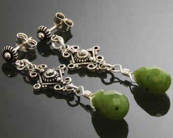 CLEARANCE. Nephrite Jade Drop Earrings. Sterling Silver. Ear Posts. Genuine Jade. Ornate Earrings. Long Earrings. s13e027