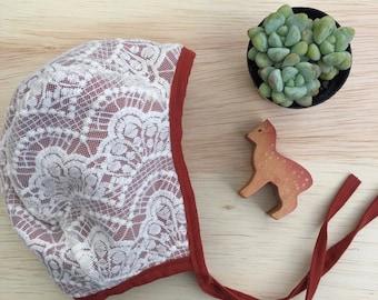 Little Cove Bonnet// Baby Bonnet // Brimless Bonnet // Baby Shower Gift // Rust and LACE bonnet