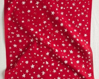 Red Star Field Bandana, Hand Screen Printed and Soft