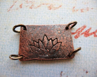 Hammered Iridescent Copper Lotus Bracelet Plaque - 30 by 17mm