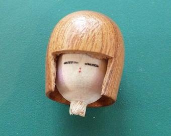 Japanese Wood Doll Head