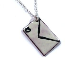 love letter envelope enamel necklace / eggnog cream, sterling silver