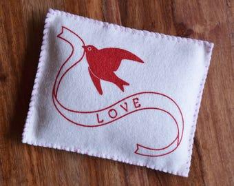 Felt Sewing Kit - LOVE Bean Bag - Original Screen Print Wool Beginner DIY