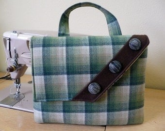Green Plaid Wool iPad Tablet Bag with Vintage Button Accent