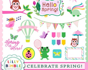 40% off Celebrate Spring digital clipart in PNG format, instant download, Lilly Bimble clip art, scrapbook, card owls, frogs, bunting, flags