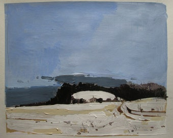 Little Hill, January 16, Original Winter Landscape Collage Painting on Paper, Stooshinoff