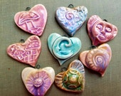 Handmade Hearts Pendants  Turquoise  Going Out of business De-stash Sale