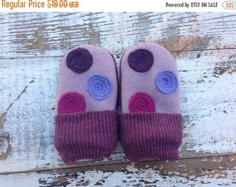 SALE- Felted Baby Mitts- Grape Jelly--Upcycled Wool