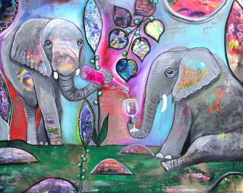 Large Modern Colorful Intuitive Painting 30x40 Elephants with Wine Fine Art