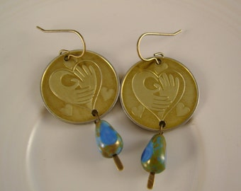 My Heart is Blue - Vintage Brass Hearts and Hands Tokens Vintage Blue Beads Recycled Repurposed Valentine Jewelry Earrings