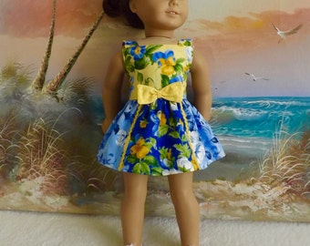 "18"" Doll Dress Featuring Designer Moda Fabrics Summer Breeze Series Sundress V2 NeW OOAK Item Will Fit AG"