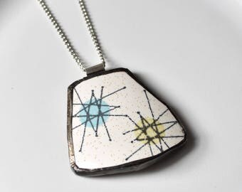 Broken China Jewelry Pendant - Blue and Yellow Atomic Starburst