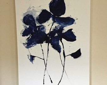 indigo blue abstract graphic art large graphic abstract floral modern art contemporary design original art painting pamela munger