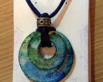 Alcohol Ink Washer Nesting Pendant - one of a kind recycled w asher Art Pendant