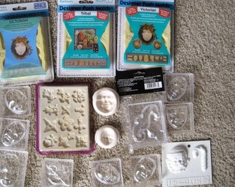 HUGE lot of 16  polymer clay molds, amaco molds, push molds, fondant, beeswax, paper mache, head molds, tragedy, comedy, face molds,