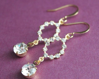 Swarovski Crystal - Marquis & Round - Silver or Gold Plated