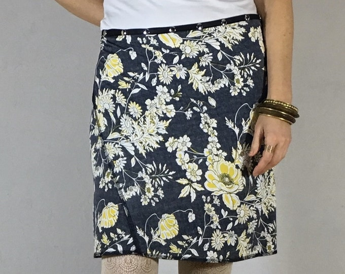 Snap Skirt, Adjustable Wrap by Erin MacLeod, Flower skirt, Gray skirt, Straight skirt,
