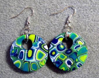 Polymer Clay Resin Klimt Retro 60s Green Blue Mod Circle Earrings K12
