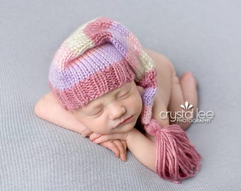 Pretty In Pastels - Tassel Stocking Hat pink purple pastel cream white girl newborn long tail hat