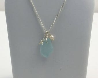 Sea Glass, starfish, and pearl necklace
