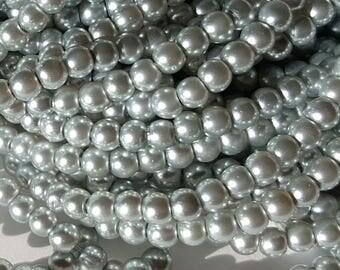 4mm Silver Glass Pearls - 210pcs. - Silver Pearls - Silver Pearl Beads - 4mm Pearl Beads - 4mm Silver Pearls - Wedding Pearls