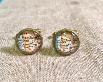 Vintage Portland Oregon Map Cufflinks -   Map Cufflinks - Bitty Cufflinks - glass cufflinks - Gift for Him