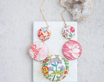 Flower Statement Necklace, Liberty Of London Fabric Necklace