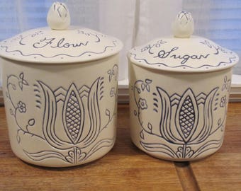 Canisters /French Country Canisters / Blue and White / Flour and Sugar/Thistle