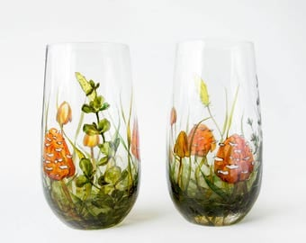 Glass Tumblers, Green, Set of 2  - Mushrooms and Grass | Botanical Collection
