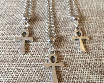 Silver Ankh Egyptian Cross Necklace on Rolo Chain
