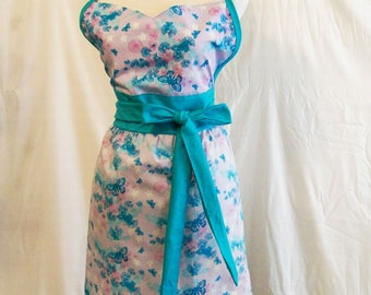 Woman's Butterflies Floral Aqua Sweetheart Full Apron, Womens Apron,  Kitchen Serving, Gift for Mom, Made in the USA, #335