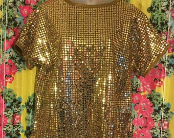 Gold Disco Sparkle Shirt - Vintage 1980s Size 12 Top