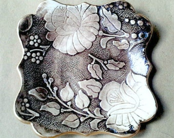 Ceramic trinket bowl  Earth Brown Damask