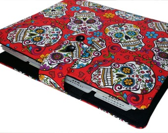 Black Sugar Skull planner cover  17 pocket Happy planner  ECLP Fabric Plum Paper Planner accessory Adjustable snap closer