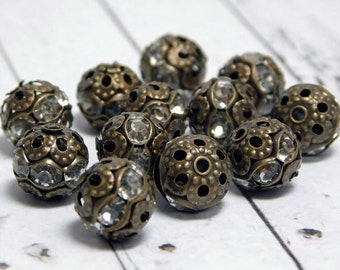 Rhinestone Beads - Filigree Beads - Round Filigree - Bronze Filigree - Brass Filigree - Rhinestone Spacers - 8mm - 10pc (2338)