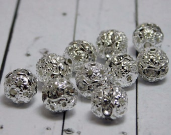 Rhinestone Beads - Filigree Beads - Round Filigree - Silver Filigree - Silver  Rhinestone Beads - Rhinestone Spacers - 8mm - 10pc (2521)