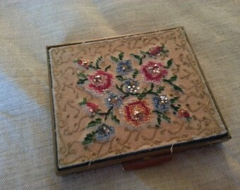 """Vintage Petite Point Compact. Pretty. Shabby. Measures 2 1/2"""" x 2 3/4""""."""