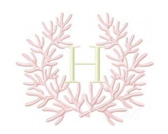 Coral Laurel Wreath Embroidery Design Instant Download Font 4x4 5x7 6x10 BX