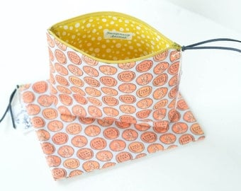 Large Wheat Back Penny Zipper Pouch | Original Fabric Design | Choose Flat or Boxy