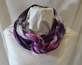 Hand Dyed Hemp Knit Infinity Scarf - Intense Colors that will Express Your Creativity, Soft Knit Fabric, Ultraviolet and Fuchsia