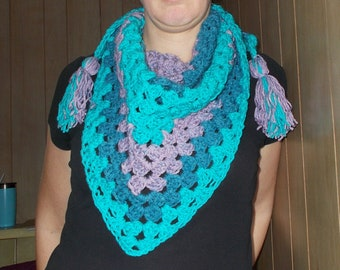 Triangle Scarf, Granny scarflette, Tassel Scarf, Teal Aqua Orchid, Crochet Scarf Shawlette, Half Granny Triangle, Ready to ship, Mothersday